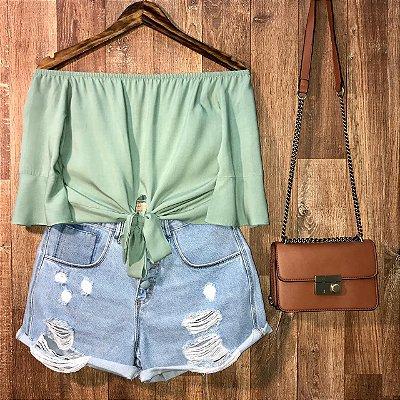Blusa Ciganinha Cropped Verde Mint