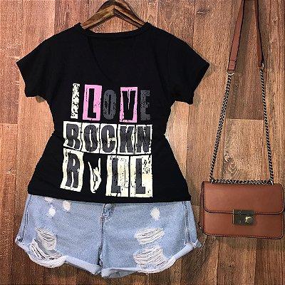 T-shirt Shocker I Love Rock Black