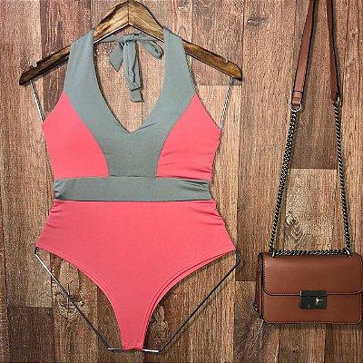Body Frente Única Com Bojo Alana Fashion Rosa e Verde