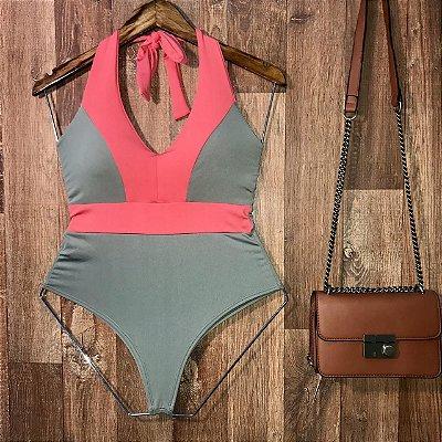 Body Frente Única Com Bojo Alana Fashion Verde e Rosa