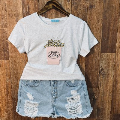 T-shirt Pop Corn com Perolas Cinza