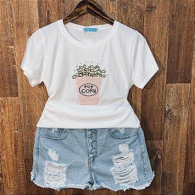 T-shirt Pop Corn com Perolas Off