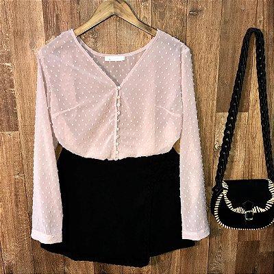 Camisa Transparente Chiffon com Botões Tatiana Rosê