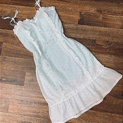 Vestido Laise Alcinha Mariah Branco Fundo Verde Mint