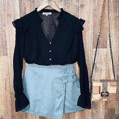Camisa com Botões Encapados Monalisa Black