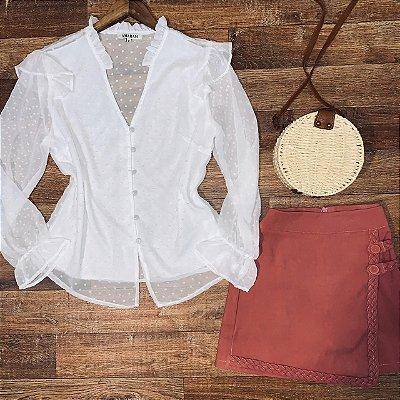 Camisa com Botões Encapados Monalisa White