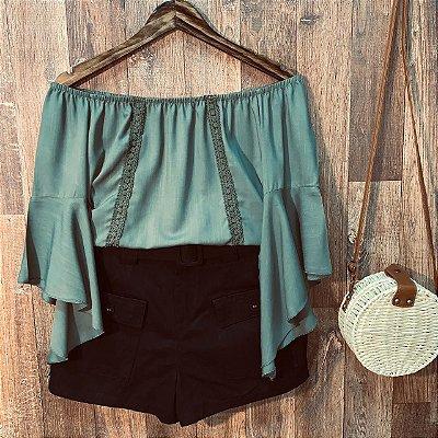 Blusa Ciganinha Manga 3 4 Renda Verde