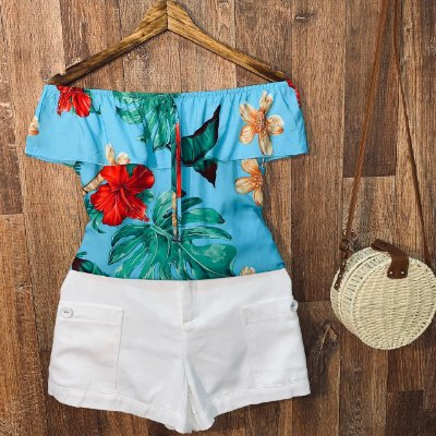 Blusa Ciganinha Babado Monalisa Floral Azul