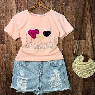 T-shirt Valentines Alto Relevo Rosa