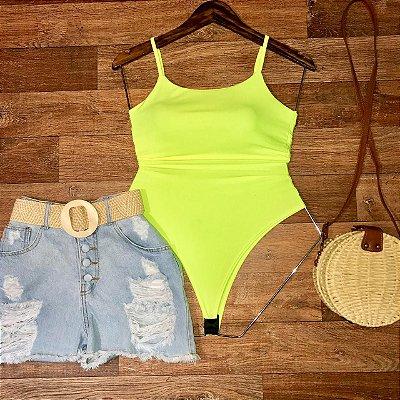 Body Alça com Bojo Verde Limão Neon
