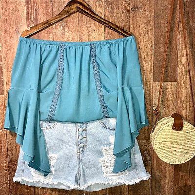 Blusa Ciganinha Manga 3|4 Renda Azul