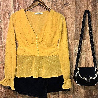 Blusa Bata Chiffon Manga Longa Bruna Amarelo