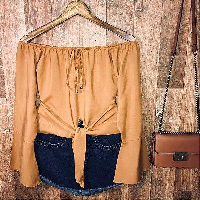 Blusa Ciganinha Cropped de Amarrar Caramelo