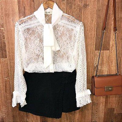 Camisa em Renda e Transparente Ligia White