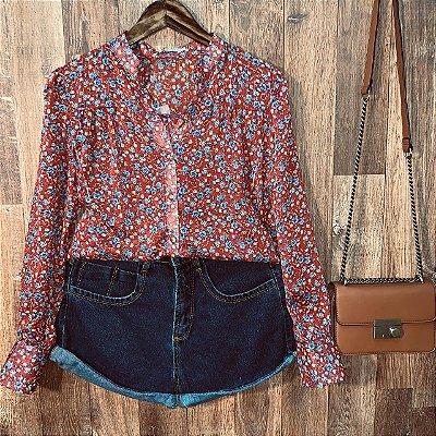 Camisa com Transparência Dayane Floral Vermelho