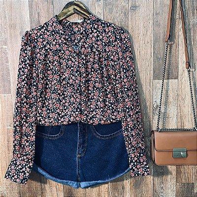 Camisa com Transparência Dayane Floral Black