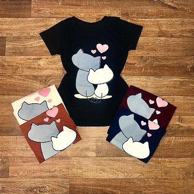 T-shirt Casal de Gatos Love