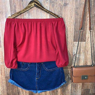 Blusa Ciganinha Manga 3|4 com Elástico Vermelho