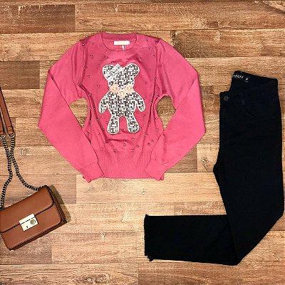 Blusa Tricot Modal Ursinho com Pérolas Rosa