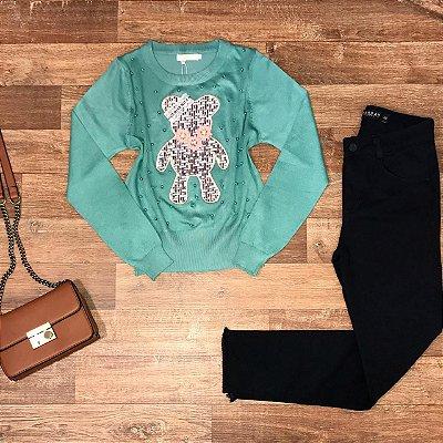 Blusa Tricot Modal Ursinho com Pérolas Verde Mint