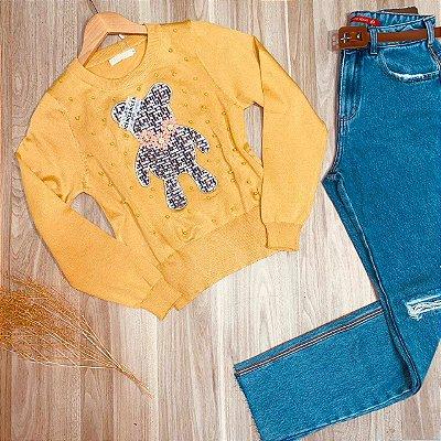 Blusa Tricot Modal Ursinho com Pérolas Mostarda