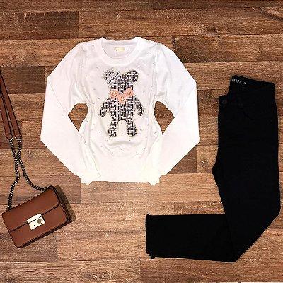 Blusa Tricot Modal Ursinho com Pérolas Branco