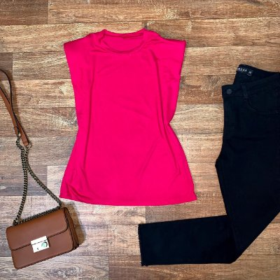 Blusa Muscle Tee com Ombreira Pink