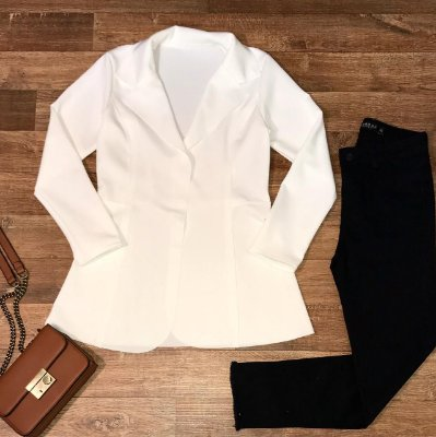 Max Blazer Neoprene Top White