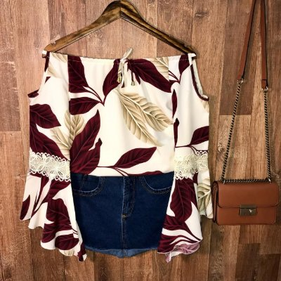Blusa Ciganinha Ombro Caído Rute Floral Off