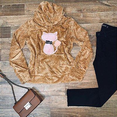 Blusa de Pelo com Gorro Gatinha Rute Caramelo
