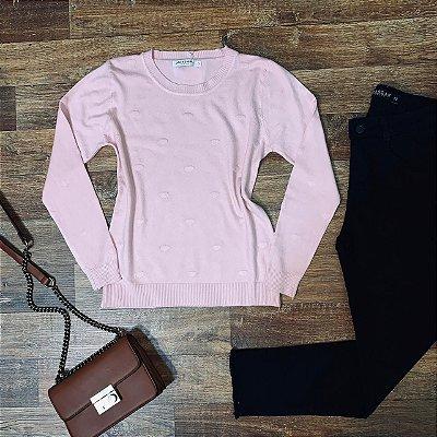 Blusa Tricot Modal Textura Corações Rute Rosê