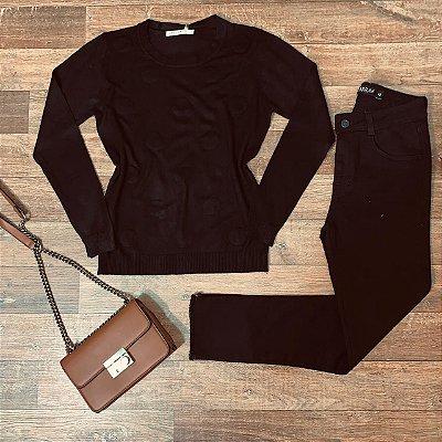 Blusa Tricot Modal Textura Poá Rute Black