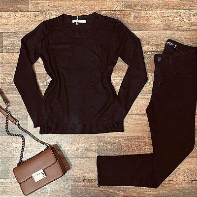 Blusa Tricot Modal Textura Corações Rute Black