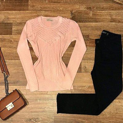 Blusa Tricot Modal com detalhes em textura Rute Rosê