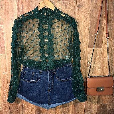 Blusa de Tulê Poá e Guipir Transparente Milão Verde