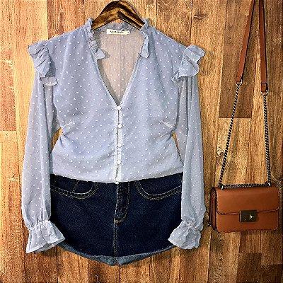 Camisa com Botões Encapados Monalisa Azul