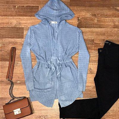 Cardigan Tricot Modal com Capuz Milão Azul