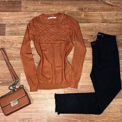 Blusa Tricot Modal com Texturas e Pérolas Milão Terra