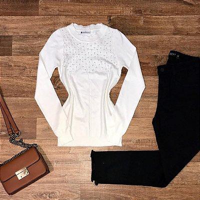 Blusa Tricot Modal com Texturas e Pérolas Milão Branco