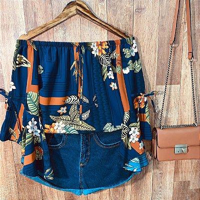 Blusa Ciganinha Manga 3|4 Lacinho Milão Fashion Azul Escuro