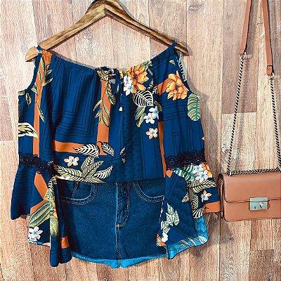 Blusa Ciganinha Ombro Caído Milão Floral Azul Marinho