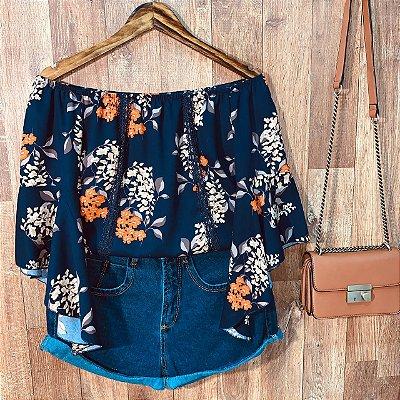Blusa Ciganinha Manga 3|4 Renda Milão Floral Azul Marinho