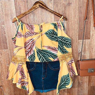 Blusa Ciganinha Ombro Caído Milão Floral Amarela