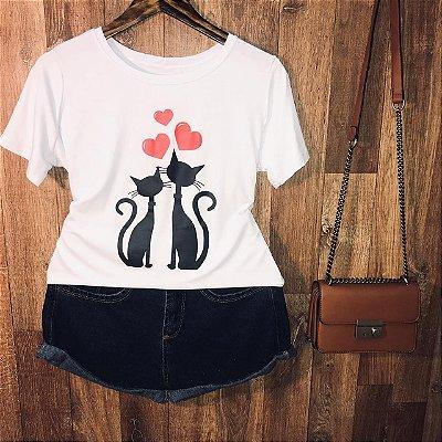 Camiseta Casal de Gatinhos Love