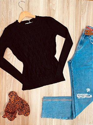 Blusa Tricot Modal Gola Redonda com Textura Sarah Preto