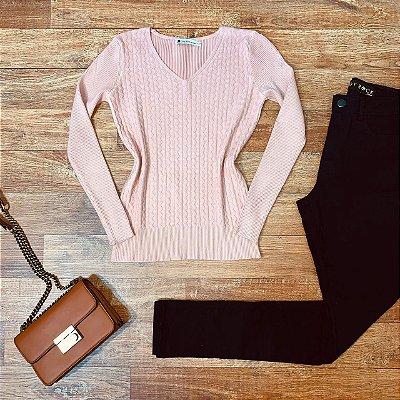 Blusa Tricot Modal Gola V com Textura Sarah Rosê