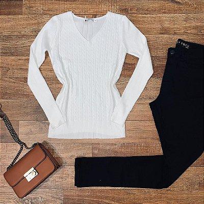 Blusa Tricot Modal Gola V com Textura Sarah White