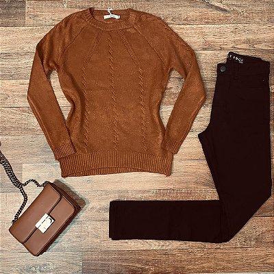 Blusa Tricot Modal  com Textura Fashion Sarah Caramelo