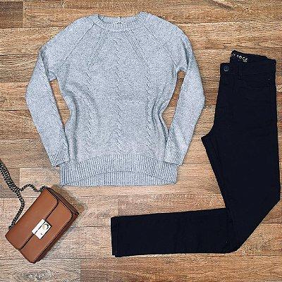 Blusa Tricot Modal  com Textura Fashion Sarah Cinza