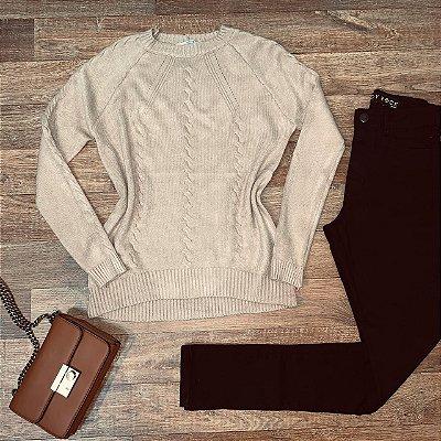 Blusa Tricot Modal  com Textura Fashion Sarah Nudê